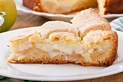 Apple pie with custard Royalty Free Stock Image