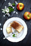 Apple pie with custard Royalty Free Stock Photography