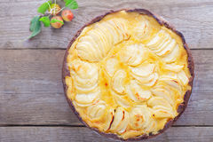 Apple pie with custard Royalty Free Stock Images