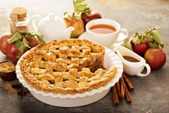 Apple pie decorated with lattice stock photos