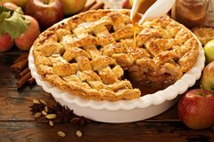 Apple pie decorated with lattice royalty free stock photography