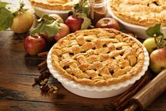 Apple pie decorated with lattice stock photography