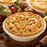 Apple pie decorated with lattice royalty free stock photo