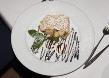 Apple Pie Dessert strudel cake charlotte with Ice Cream mint photo Royalty Free Stock Photos