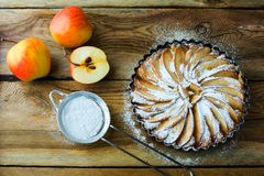Apple pie with fresh fruits Stock Photo