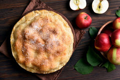 Apple pie and fresh fruits Royalty Free Stock Image
