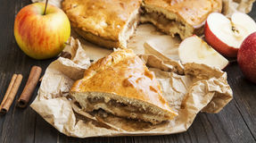 Apple Pie Freshly Baked with Apples and Cinnamon Stock Photo