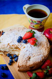 Apple pie with fruits. And coffee Royalty Free Stock Image