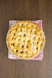 Apple pie on gingham towel, cooked Stock Images