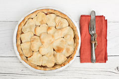 Apple pie with heart shaped crust topping with chalkboard Royalty Free Stock Photo
