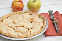 Apple pie with heart shaped crust topping Stock Photo