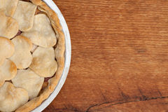 Apple pie with heart shaped crust topping Royalty Free Stock Photo