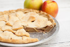 Apple pie with heart shaped crust topping Stock Photos