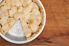Apple pie with heart shaped crust topping Stock Images