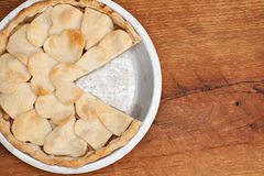 Apple pie with heart shaped crust topping Royalty Free Stock Photography