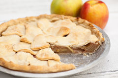Apple pie with heart shaped crust topping Royalty Free Stock Photos