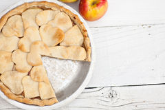 Apple pie with heart shaped crust topping Royalty Free Stock Images