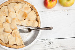 Apple pie with heart shaped crust topping Royalty Free Stock Image
