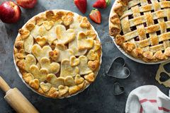 Apple pie with hearts shaped crust. Homemade treat for Valentines Day Stock Photography