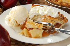 Apple pie and ice cream Stock Photography