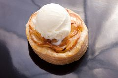 Apple pie with ice cream Stock Photography