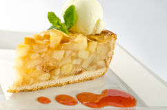 Apple pie with ice cream royalty free stock images