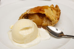 Apple Pie with Ice Cream on Plate Stock Photography