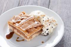Apple pie with icecream Stock Image