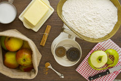 Apple Pie ingredients above tight Stock Photography