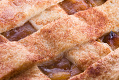 Apple Pie with Lattice Pastry Crust. Apple pie with a lattice pastry crust. The crust is smothered with cinnamon and cane sugar Stock Photography