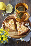 Apple pie and lemon tea Royalty Free Stock Photo