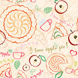 Apple Pie Line Art Pattern. Seamless line art pattern with apple pies, cups of tea, hearts, some text and other decorations Stock Photo