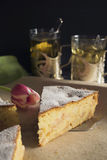 Apple pie made of corn flour. Sponge cake from corn flour with apple filling Royalty Free Stock Photography