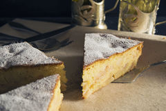 Apple pie made of corn flour. Sponge cake from corn flour with apple filling Stock Image