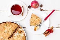 Apple pie med tea Arkivbilder