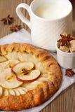 Apple pie and milk. Stock Photography
