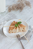 Apple pie and milk Royalty Free Stock Images