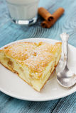 Apple pie with milk and cinnamon sticks Royalty Free Stock Photos