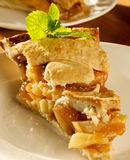 Apple pie with mint garnish. Closeup photo of a piece of apple pie with mint garnish shot with selective focus stock image