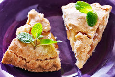 Apple pie with mint garnish close-up Stock Photo