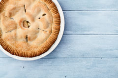 Apple Pie Over Blue Wooden Table Top Royalty Free Stock Photo