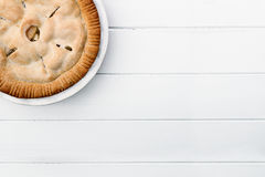 Apple Pie Over Wooden Table Top Stock Photos