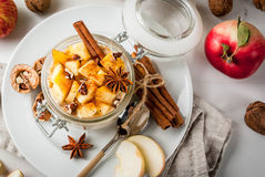 Apple pie overnight oatmeal Stock Photography