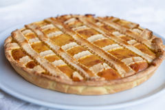 Apple pie. A picture of a traditional apple pie at thanksgiving stock photo