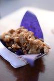 Apple pie poutine. On wooden table Royalty Free Stock Photo