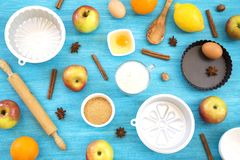 Apple pie preparation royalty free stock photo