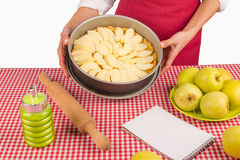 Apple pie ready for the oven at home Royalty Free Stock Photos