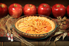 Apple pie. With red apples Stock Photos