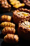 Apple pie and croissant. Apple pie and сroissant on table. Studio shoot royalty free stock photo