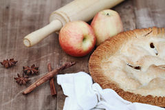 Apple Pie with Rolling Pin and Ingredients Royalty Free Stock Photo